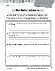 Roll of Thunder  Hear My Cry Close Reading and Text Dependent Questions Book