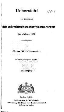 Allgemeine Bibliographie Der Staats  und Rechtswissenschaften PDF