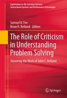 The Role of Criticism in Understanding Problem Solving PDF