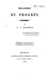Philosophie du progrès: programme