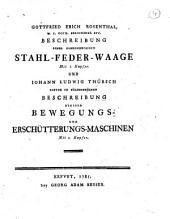 Beschreibung einer gemeinnutzigen Stahl-Feder-Waage mit I. Kupfer. Und Iohann Ludwig Thursch pastor in Sulzenbrucken Beschreibung einiger Bewegungs- und erschutterungs-maschinen. mit 1. kupfer