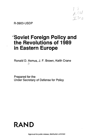 Soviet Foreign Policy and the Revolutions of 1989 in Eastern Europe