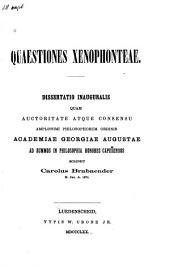 Quaestiones Xenophonteae: Dissertatio inauguralis