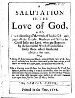 A Salutation in the Love of God     unto all the faithful brethren and sisters in Christ Jesus our Lord     With a word of exhortation     unto all whose faces are set Sionward  etc PDF