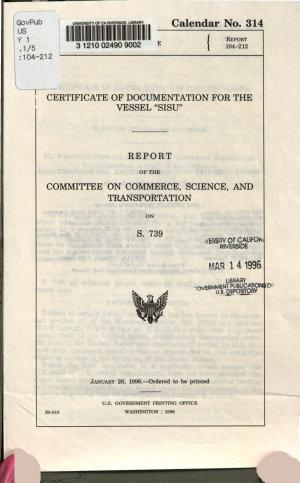 Certificate of Documentation for the Vessel  Sisu