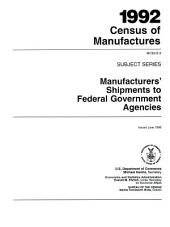 1992 census of manufactures: Subject series, Volume 1