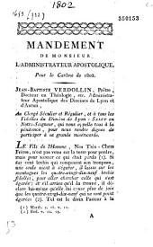 Mandement de Monsieur l'administrateur apostolique, pour le carême de 1802