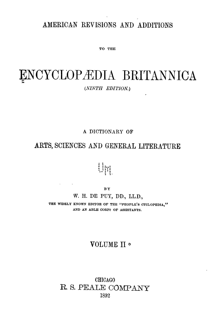 American Revisions and Additions to the Encyclopaedia Britannica