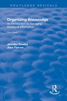 Organizing Knowledge  Introduction to Access to Information PDF