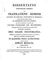 Dissertatio inauguralis juridica De translatione dominii secundum jus Romanum, statutarium et hodiernum ...