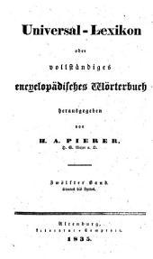 Universal-lexikon, oder Vollständiges encyclopädisches wörterbuch: Band 12
