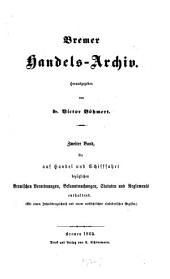Bremer Handels-Archiv: Herausgegeben von Dr. Victor Böhmert, Volume 2