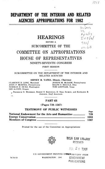 Department of the Interior and Related Agencies Appropriations for 1982 PDF