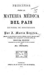 Principios para la Materia Médica del País en forma de diccionario
