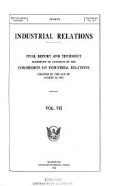 Industrial Relations: Final Report and Testimony, Volume 7