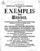 Disp. inaug. iur. de exemplis, von Copeyen
