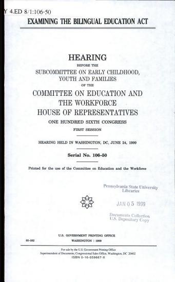 Examining the Bilingual Education Act PDF