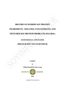 History of Modern Soy Protein Ingredients   Isolates  Concentrates  and Textured Soy Protein Products  1911 2016  PDF