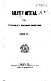 Boletín oficial de la Sociedad Hahnemanniana Matritense: Volumen 4