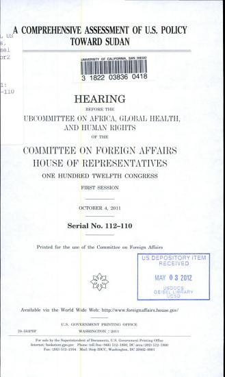 A Comprehensive Assessment of U S  Policy Toward Sudan PDF