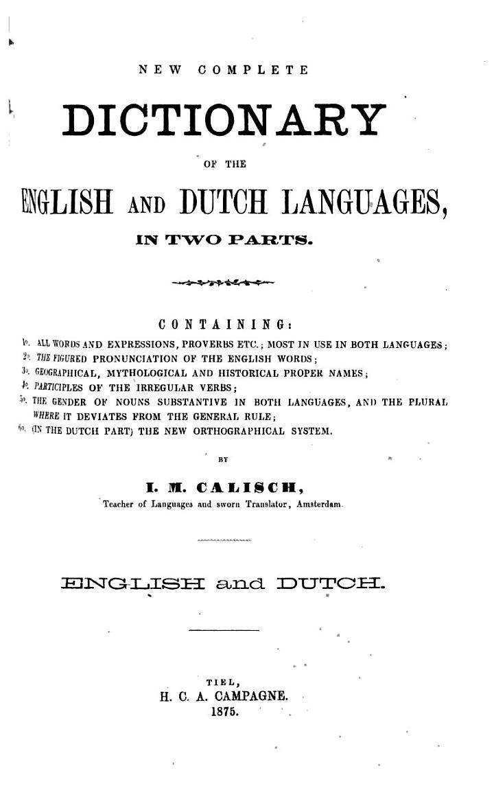 Nieuw volledig Engelsch-Nederlandsch en Nederlandsch-Engelsch woordenboek