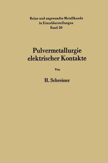 Pulvermetallurgie elektrischer Kontakte PDF