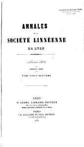 Annales de la Société Linnéenne de Lyon: Volumes29à30