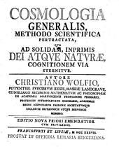 Cosmologia Generalis, Methodo Scientifica Pertractata, Qua Ad Solidam, Inprimis Dei Atqve Natvrae, Cognitionem Via Sternitvr: Seite 2