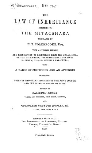 The Law of Inheritance According to the Mitacshara