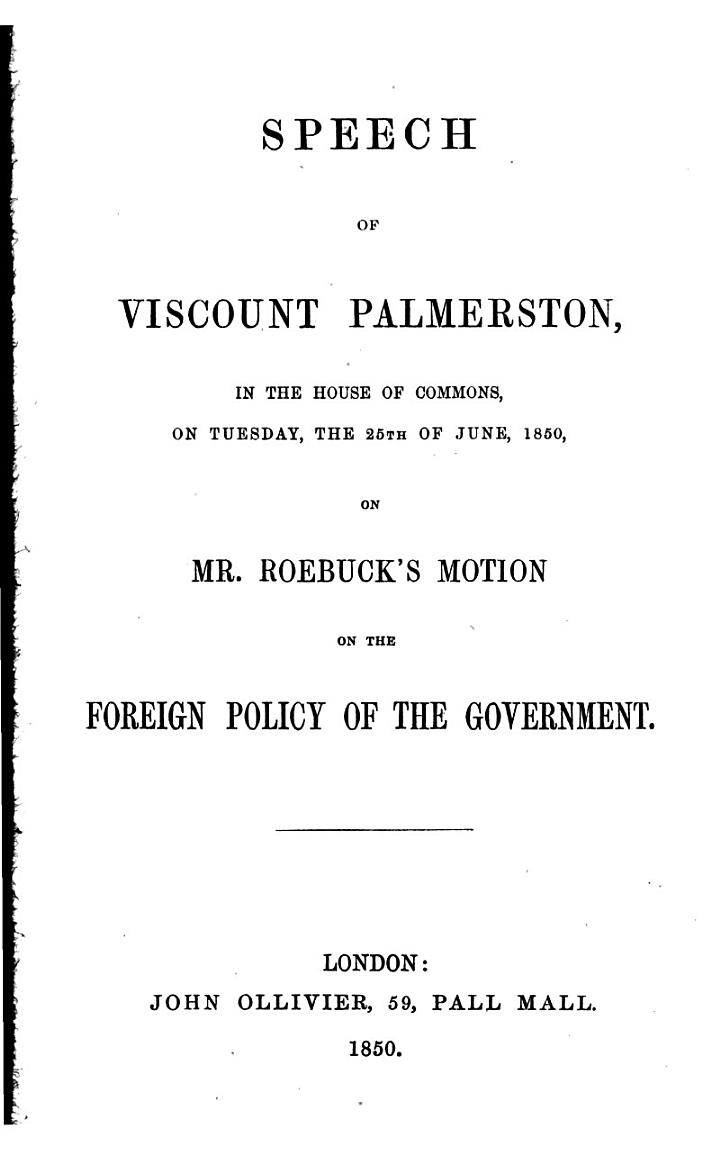 Speech of Lord Viscount Palmerston to the Electors of Tiverton, on the 31st July, 1847