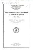 Mental Defectives and Epileptics in State Institutions PDF