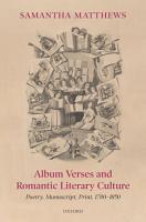 Album Verses and Romantic Literary Culture PDF