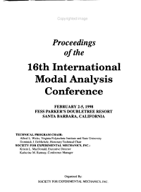 Proceedings of the 16th International Modal Analysis Conference