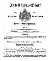 Königlich Bayerisches Intelligenzblatt für Mittelfranken: 1838