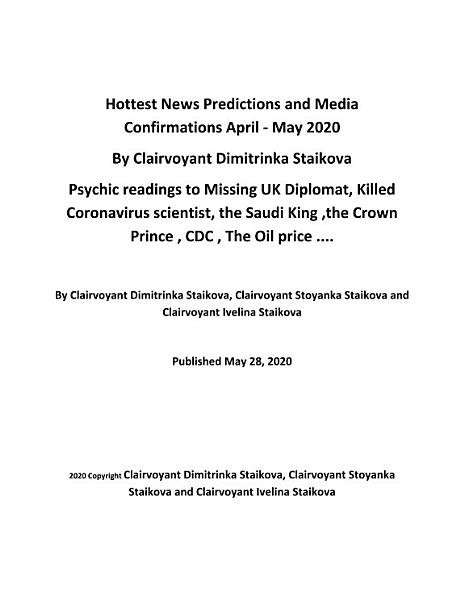 Download Hottest News Predictions and Media Confirmations April     May 2020     By Clairvoyant Dimitrinka Staikova Book