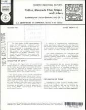 Current Industrial Reports: Cotton, man-made fiber staple, and linters. M22P, Volume 71, Issue 13