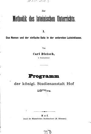 Zur Methodik des lateinischen Unterrichts PDF