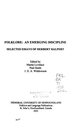 Folklore  an Emerging Discipline