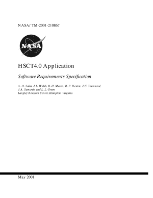 HSCT4 0 application software requirements specification PDF