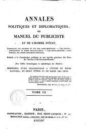 Annales politiques et diplomatiques, ou Manuel du publiciste et de l'homme d'ètat ... Par M. Isambert ... Tome 1.er [- quatrième]: Volume3