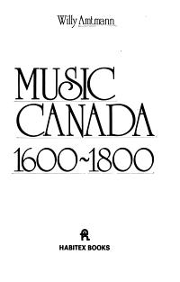 Music in Canada  1600 1800
