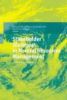 Stakeholder Dialogues in Natural Resources Management PDF