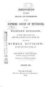 Reports of Cases Argued and Determined in the Supreme Court of Tennessee: Volume 59
