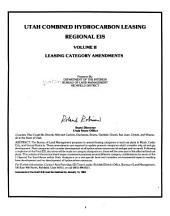 Utah combined hydrocarbon leasing regional EIS: Volume 2
