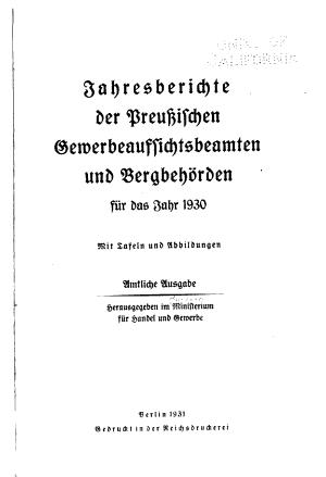 Jahresberichte der Preussischen Gewerbeaufsichtsbeamten und Bergbeh  rden PDF