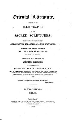Oriental Literature  Applied to the Illustration of the Sacred Scriptures PDF