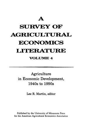 A Survey of Agricultural Economics Literature  Traditional fields of agricultural economics  1940s to 1970s PDF
