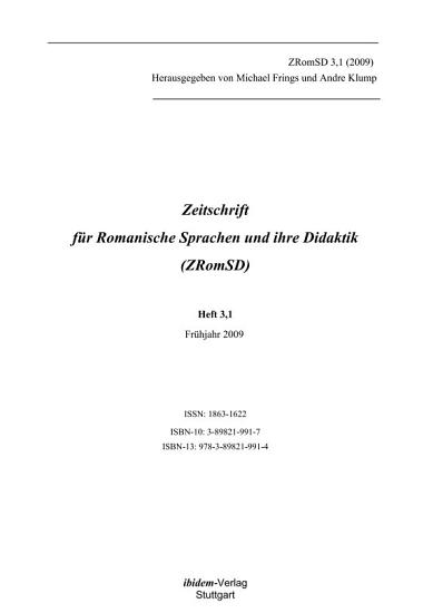 Zeitschrift f  r Romanische Sprachen und ihre Didaktik PDF