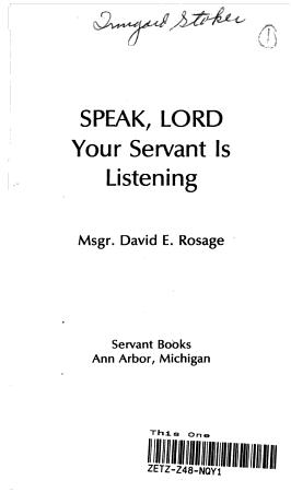 Speak Lord  Your Servant is Listening PDF