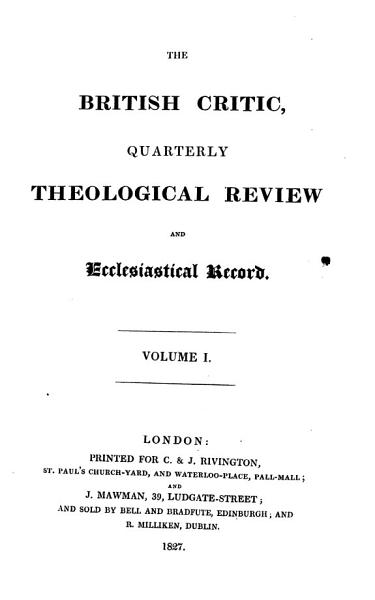 Download The British Critic  and Quarterly Theological Review Book
